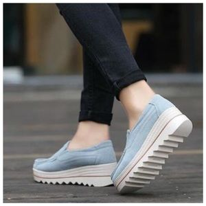 Shoes - New Baby Blue Flatform Slip On Sneakers